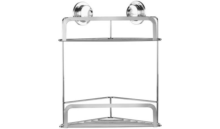 Croydex Stick 'N' Lock Two Tier Corner Basket