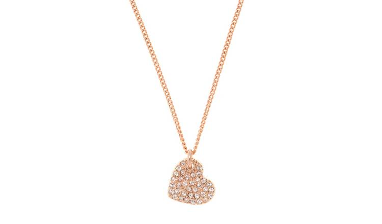 DKNY Gold Plated Cubic Zirconia Heart Charm Necklace
