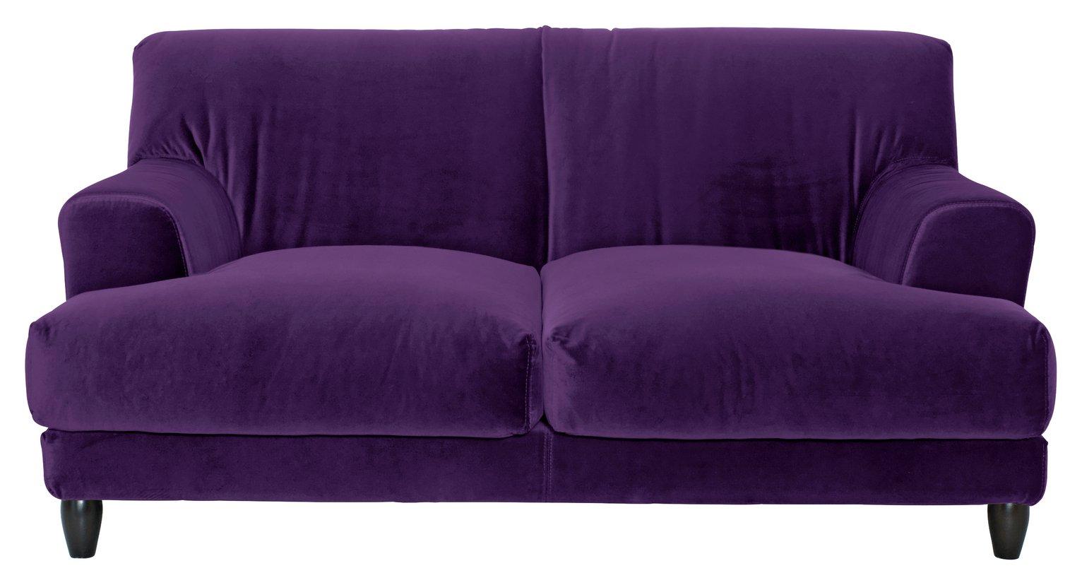 Habitat Askem 2 Seater Velvet Sofa - dark purple