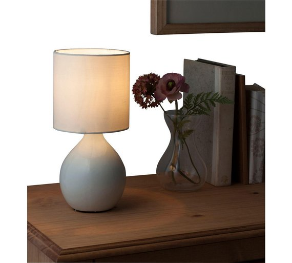 Home round ceramic table lamp cotton cream