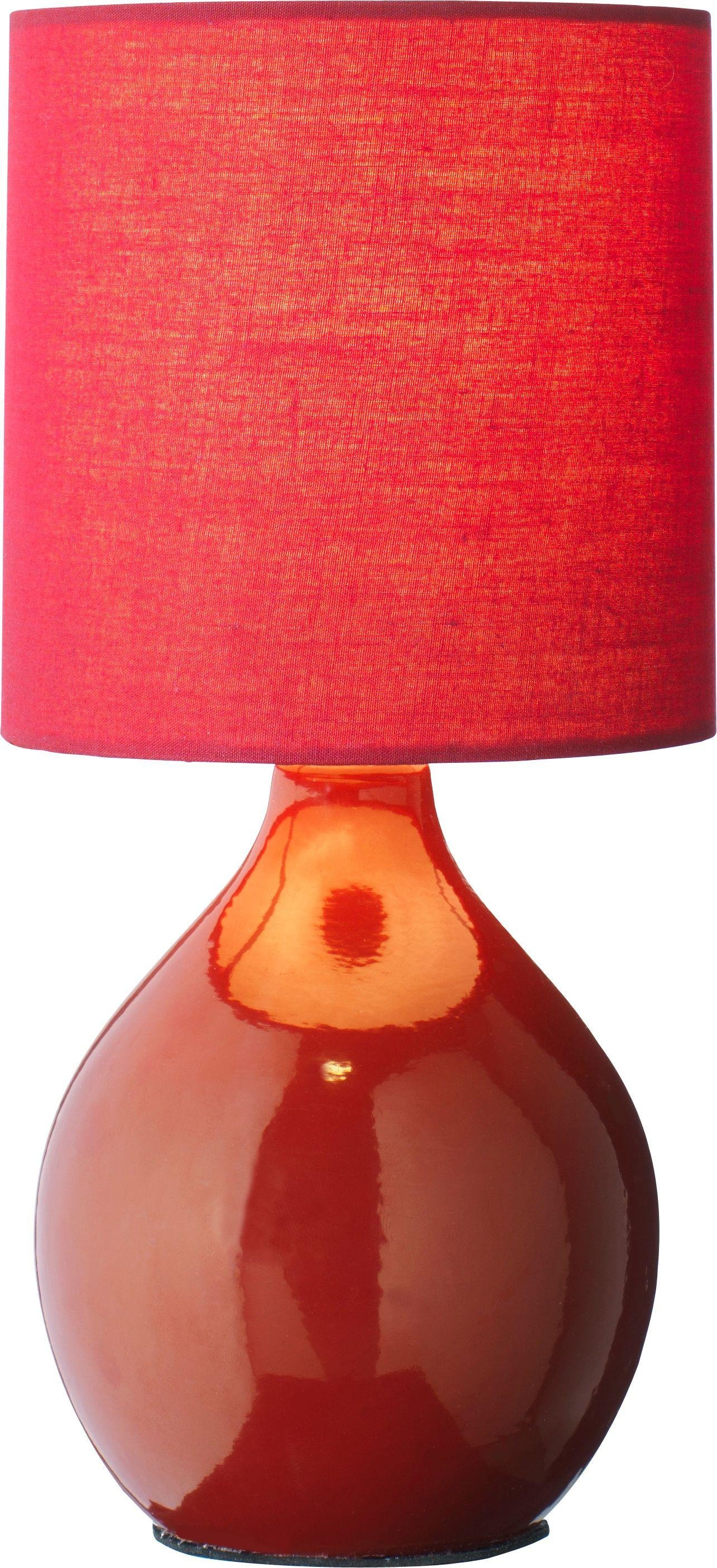 colourmatch round ceramic table lamp  poppy red.