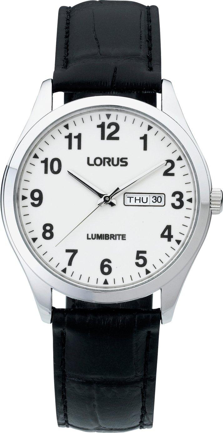 Lorus Men's Lumibrite Black Leather Strap Watch