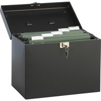 A4 Paper Metal Filing Storage Box - Black