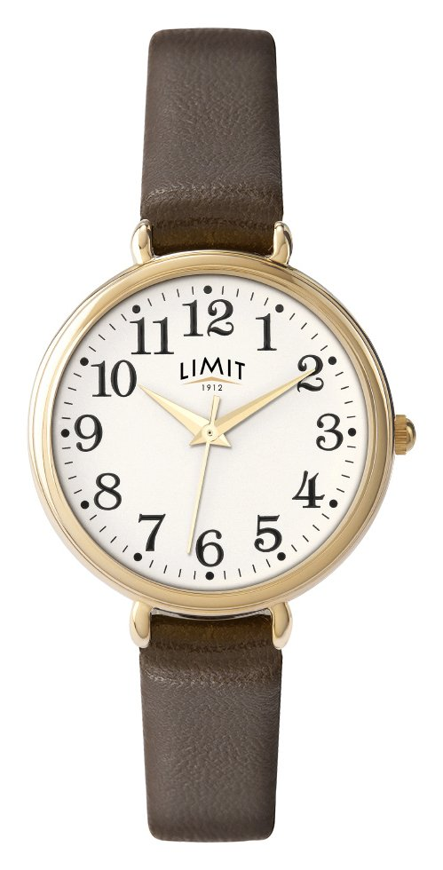 Limit Ladies' Round Oversized Brown Strap Watch