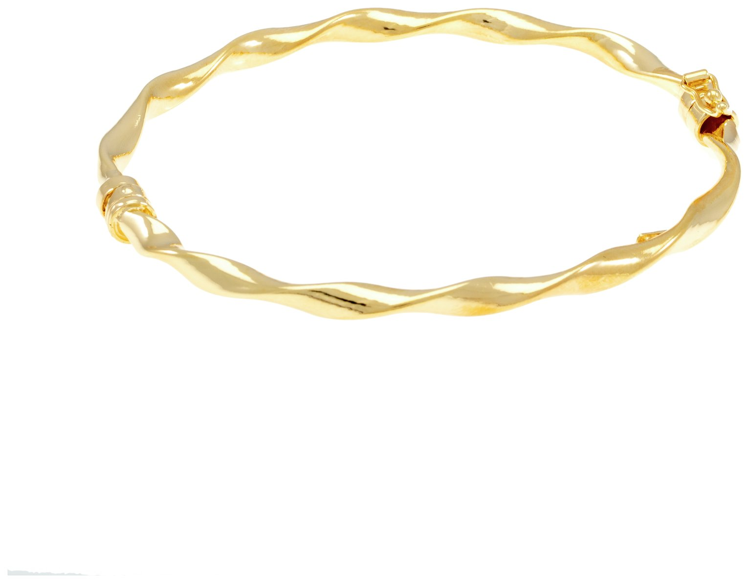 Revere 9ct Gold Plated Sterling Silver Hinged Twist Bangle