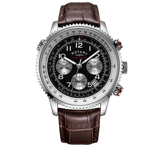 buy rotary men s brown black chronograph leather strap watch at loading