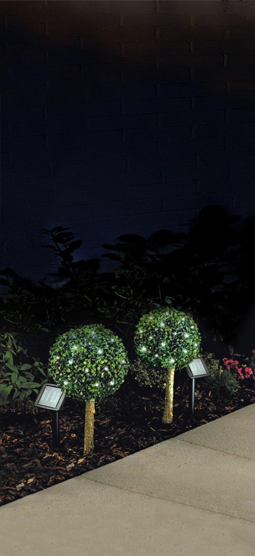 HOME Set of 2 Solar Bay Tree Lights - White
