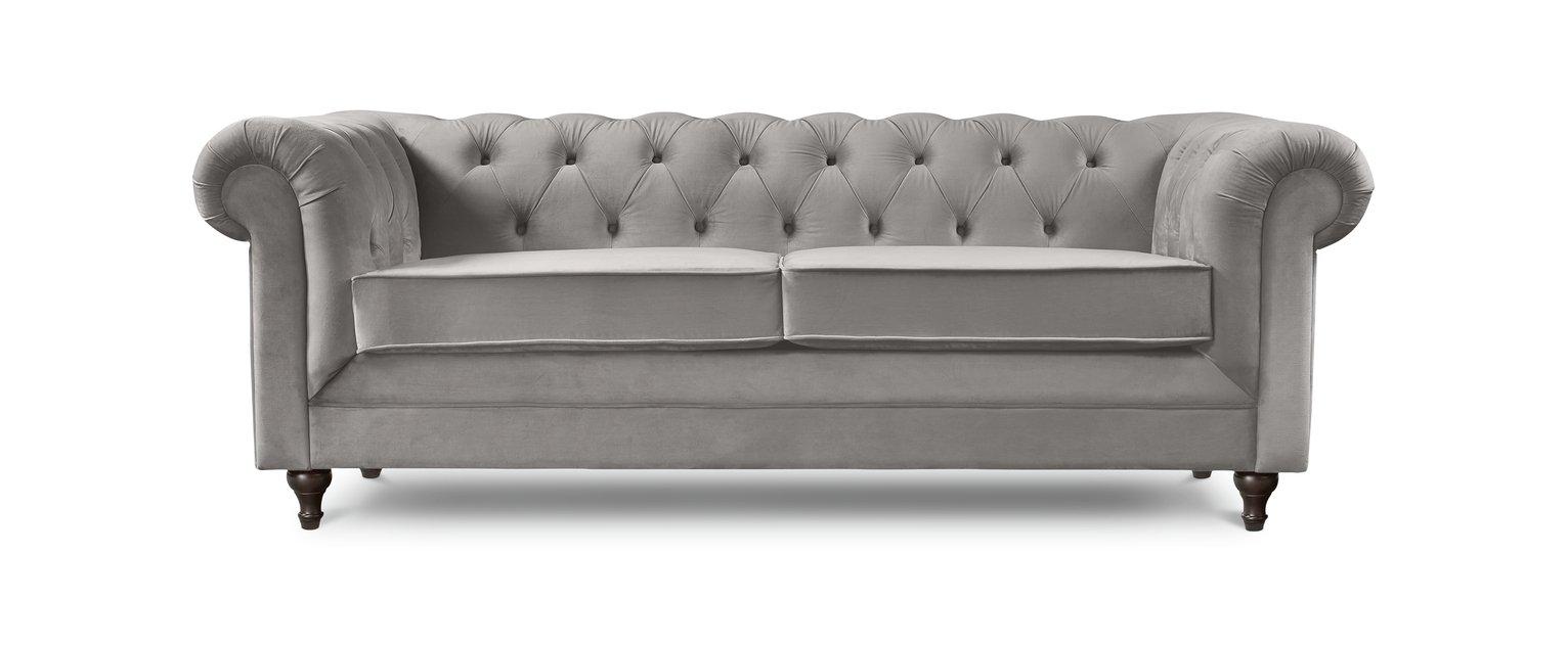 Habitat Chesterfield 3 Seater Velvet Sofa - Light Grey