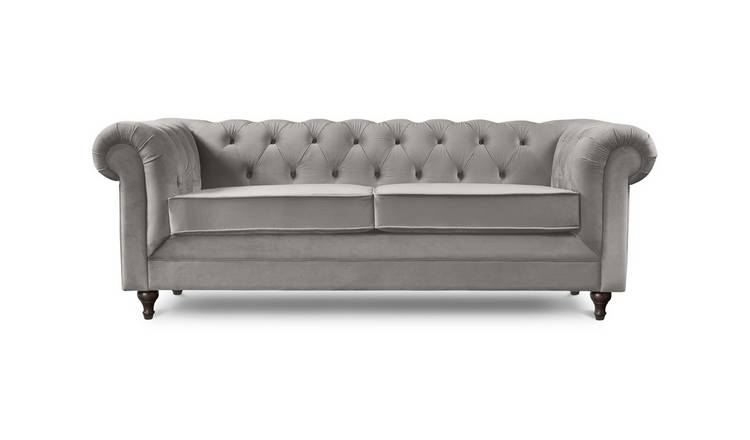 Habitat Chesterfield 3 Seater Velvet Sofa - Light Grey