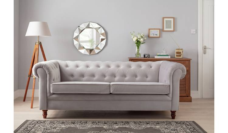 Buy Argos Home Chesterfield 3 Seater Velvet Sofa Light Grey Sofas Argos