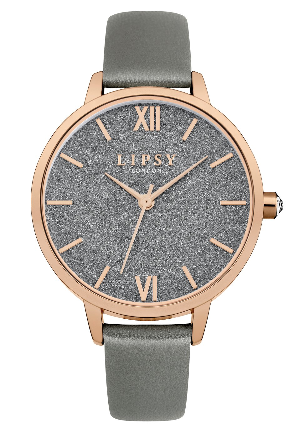Lipsy Metallic Grey Faux Leather Strap Watch