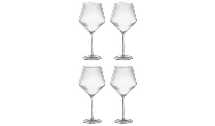 Argos Home Rainforest 4 Pack Gold Rim Plastic Wine Glasses