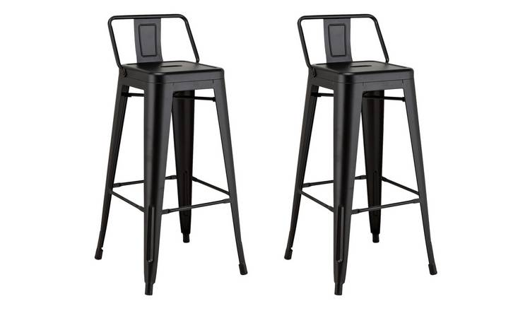 Awesome Buy Argos Home Industrial Pair Of Metal Bar Stools Matt Black Bar Stools Argos Machost Co Dining Chair Design Ideas Machostcouk