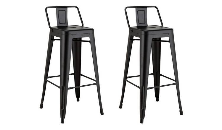 Prime Buy Argos Home Industrial Pair Of Metal Bar Stools Matt Black Bar Stools Argos Machost Co Dining Chair Design Ideas Machostcouk