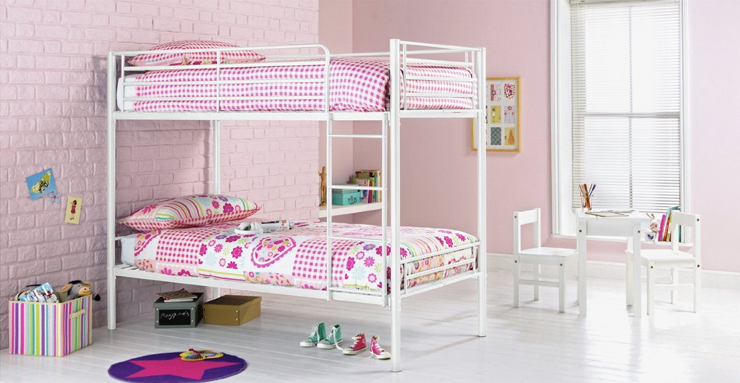 Argos Home Samuel White Metal Shorty Bunk Bed & 2 Mattresses