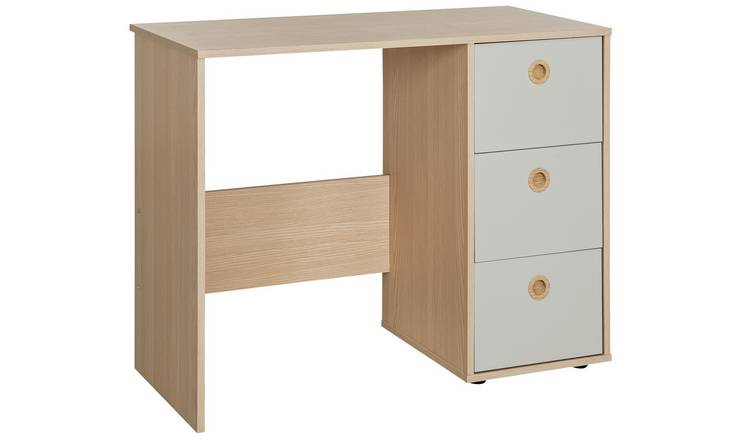Argos Home Camden 3 Drawer Desk - Grey & Acacia