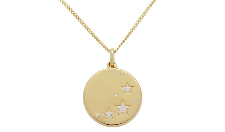 Moon & Back 9ct Gold Plated Cubic Zirconia Sliding Locket