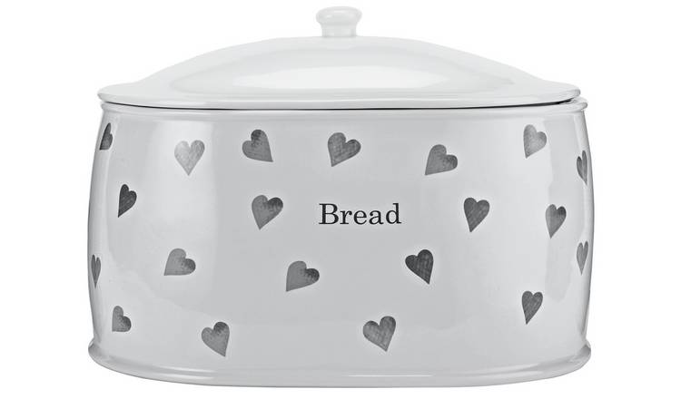 Argos Home Hearts Stoneware Bread Bin - White