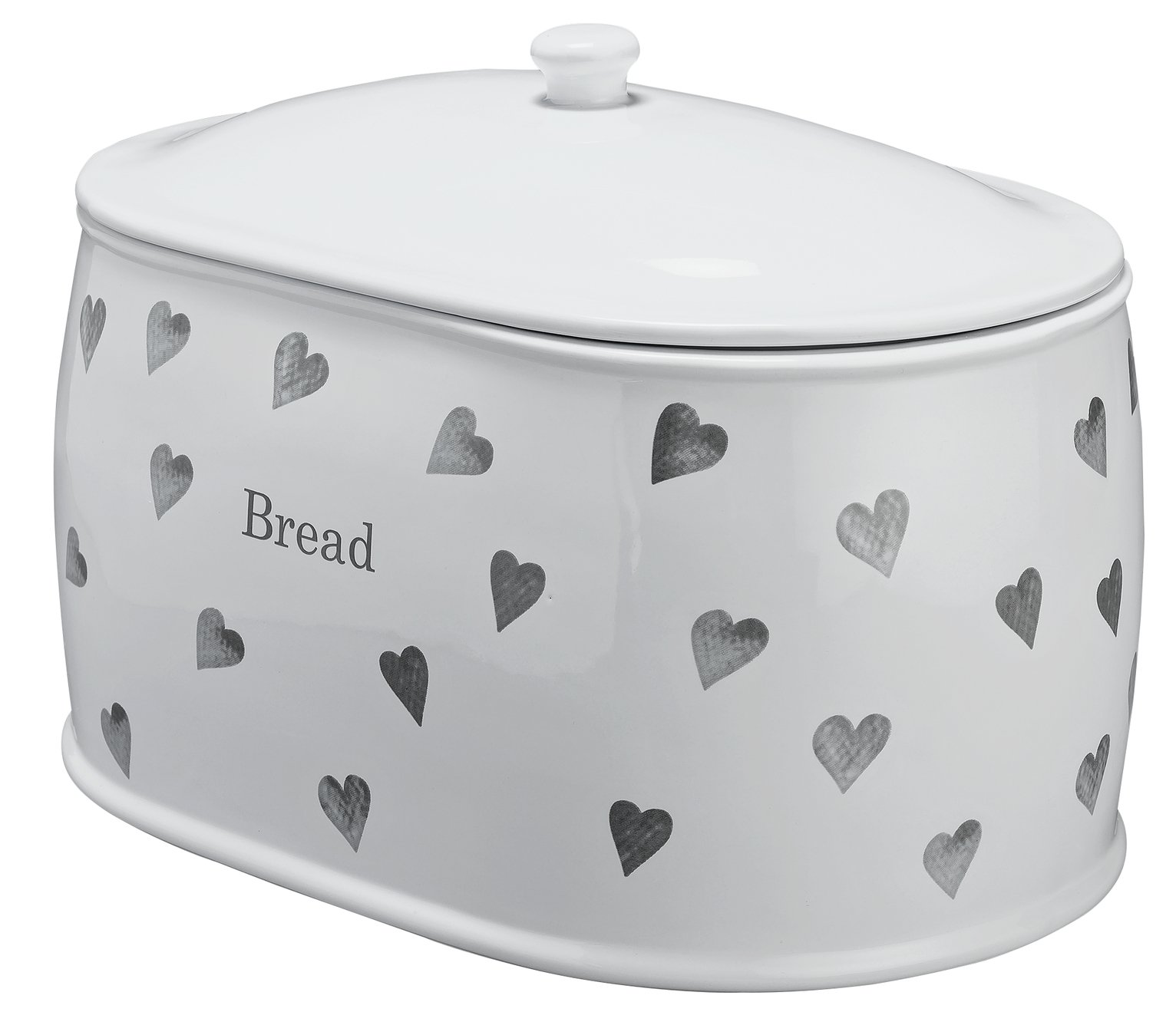 Argos Home Hearts Stoneware Bread Bin - Grey