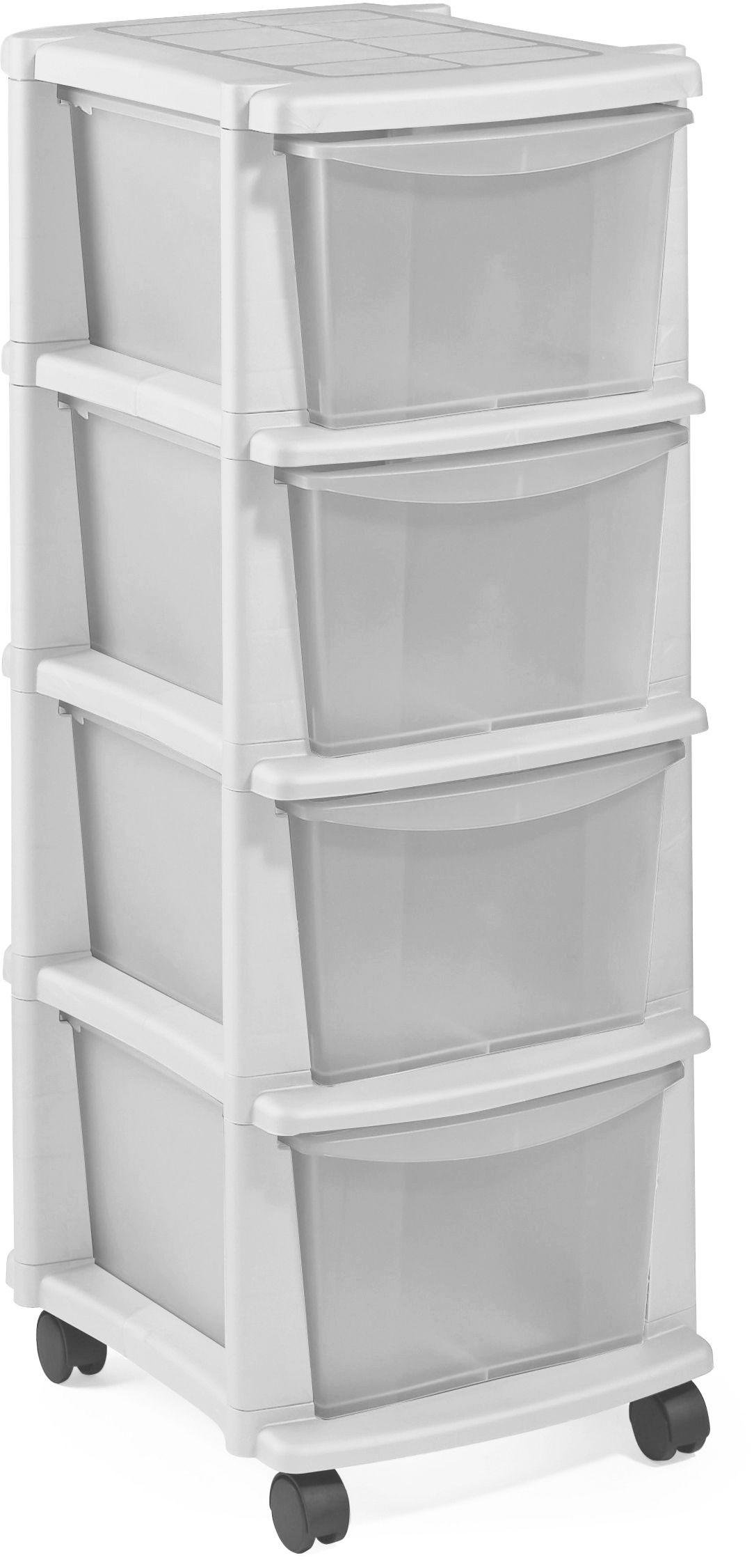 'Home 4 Drawer White Plastic Tower Storage Unit