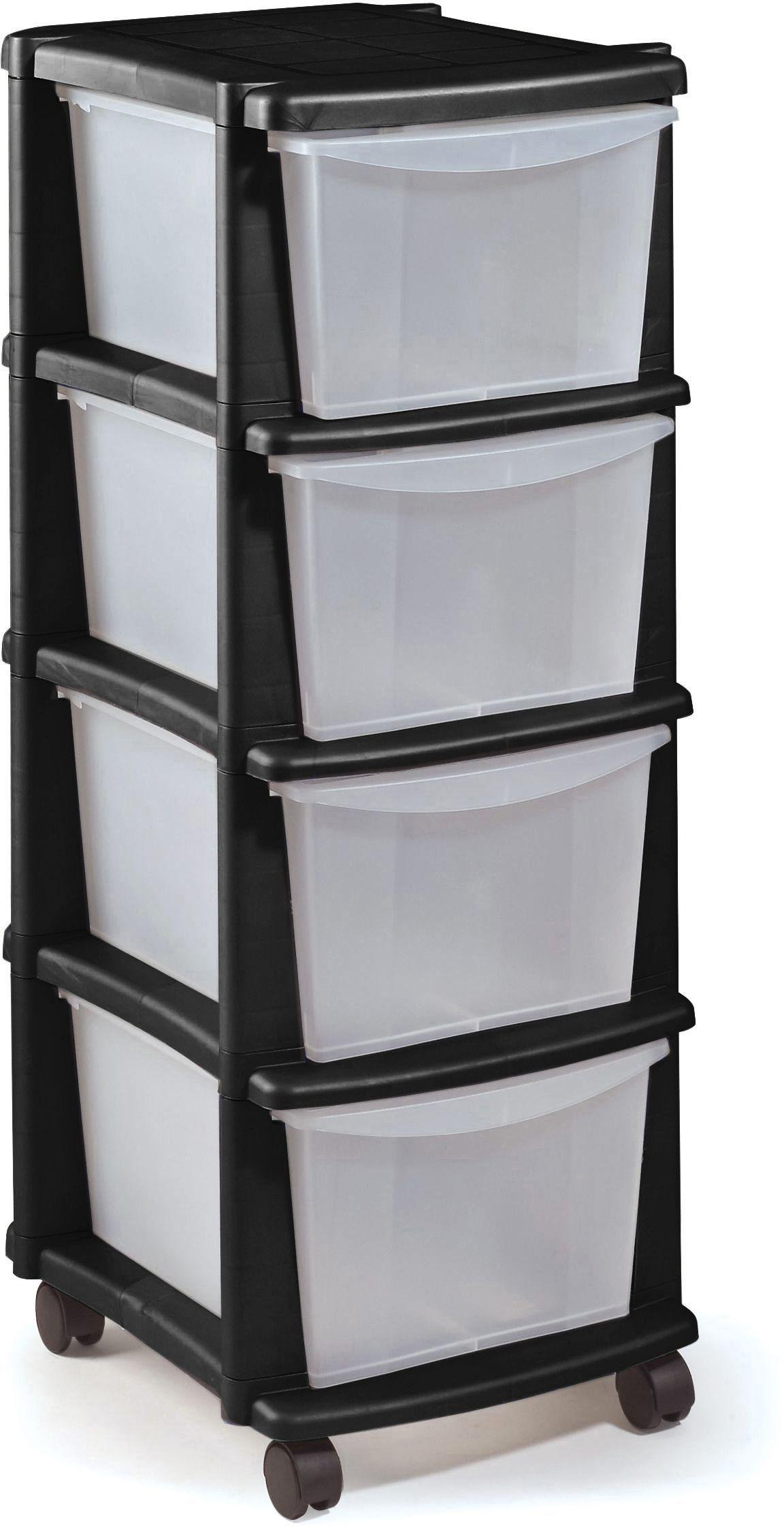 HOME Keter 4 Drawer Plastic Tower Storage Unit Black