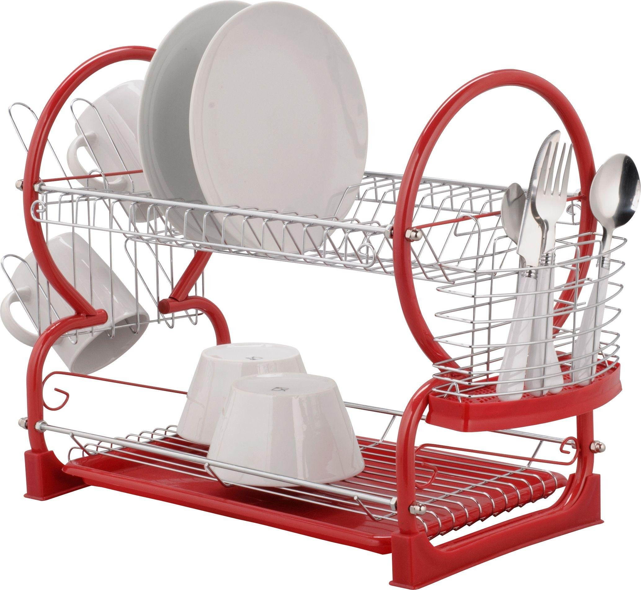 Image of HOME - 2 Tier Dish Rack - Red