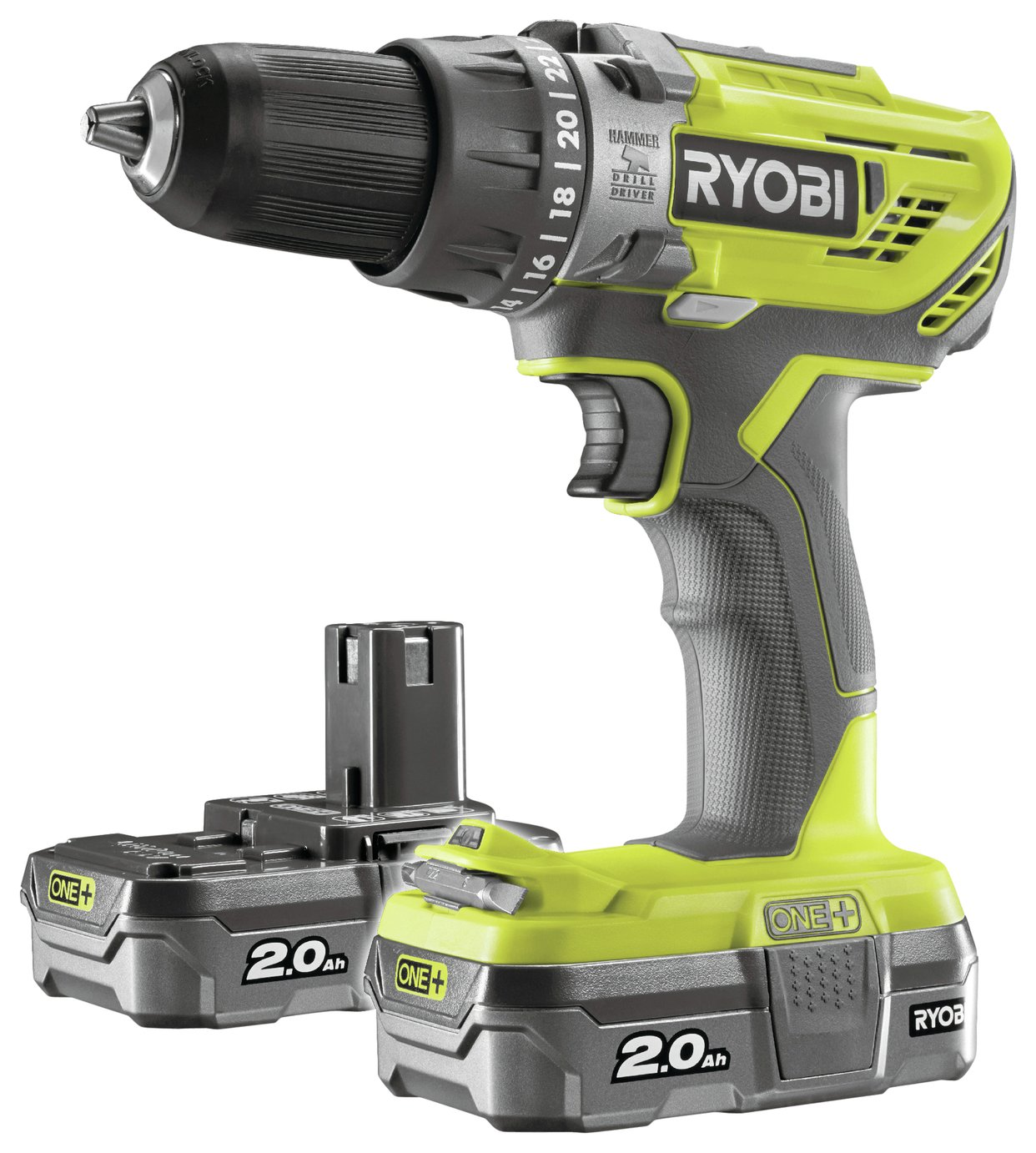 Ryobi ONE+ 2Ah Cordless Combi Drill with 2 Batteries - 18V