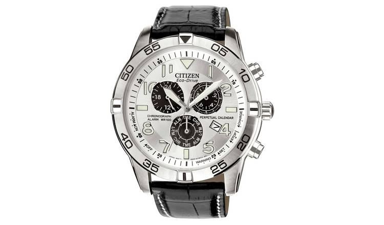 Citizen Men's Black Coloured Leather Strap Watch