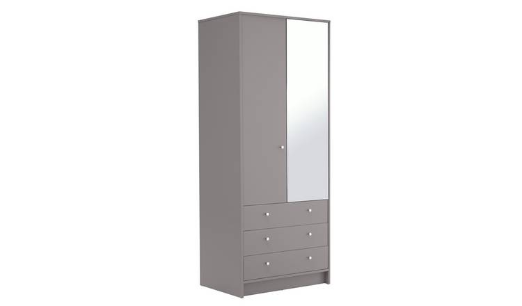 Argos Home Malibu 2 Door 3 Drawer Mirror Wardrobe - Grey