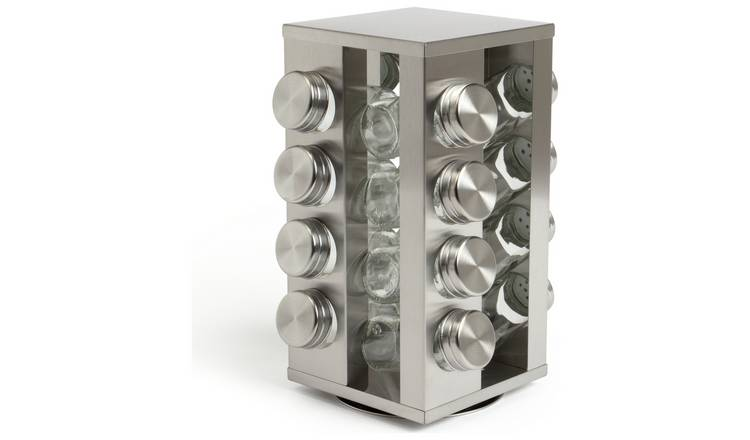 Argos Home 16 Jar Stainless Steel Revolving Spice Rack
