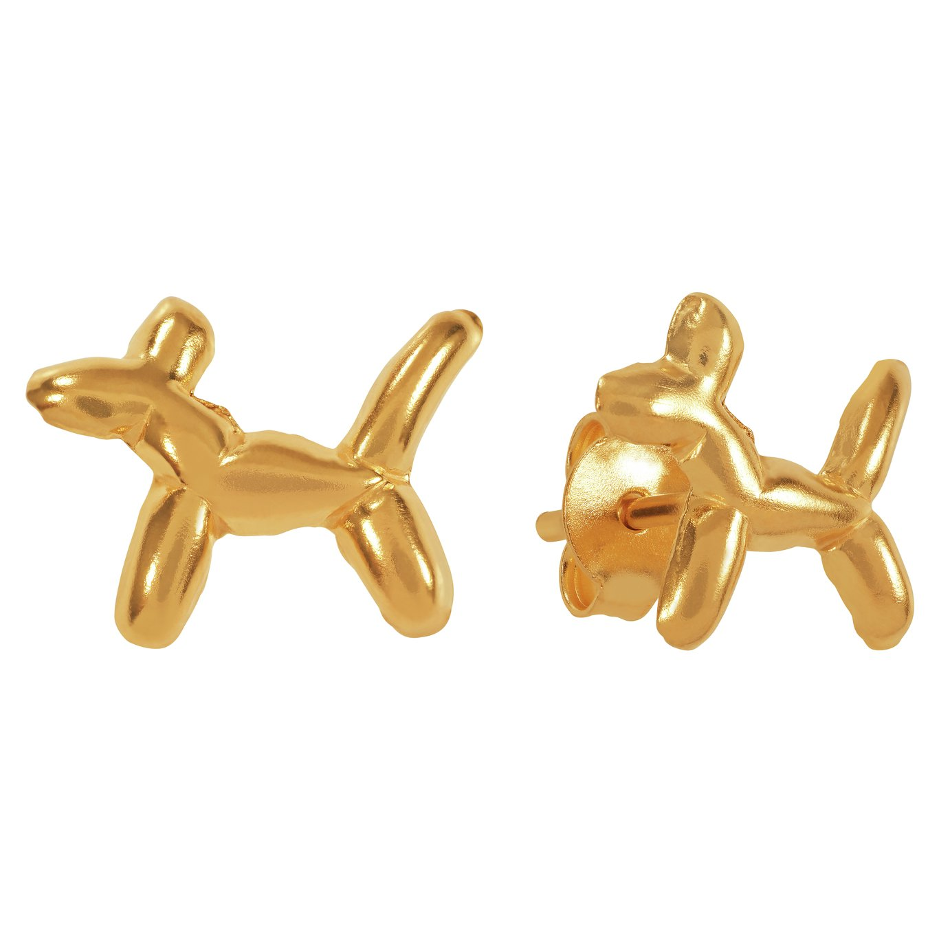 Revere 9ct Gold Plated Dog Stud Earrings