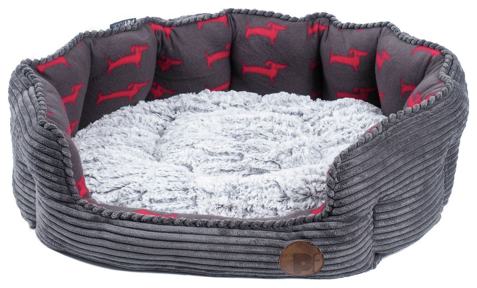 Petface Grey Bamboo & Jumbo Cord Deli Dog Bed - Small