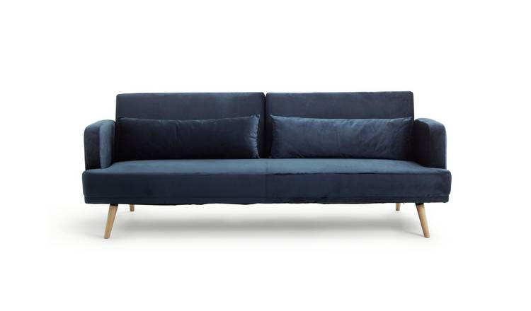 Habitat Andy 3 Seater Velvet Sofa Bed - Blue