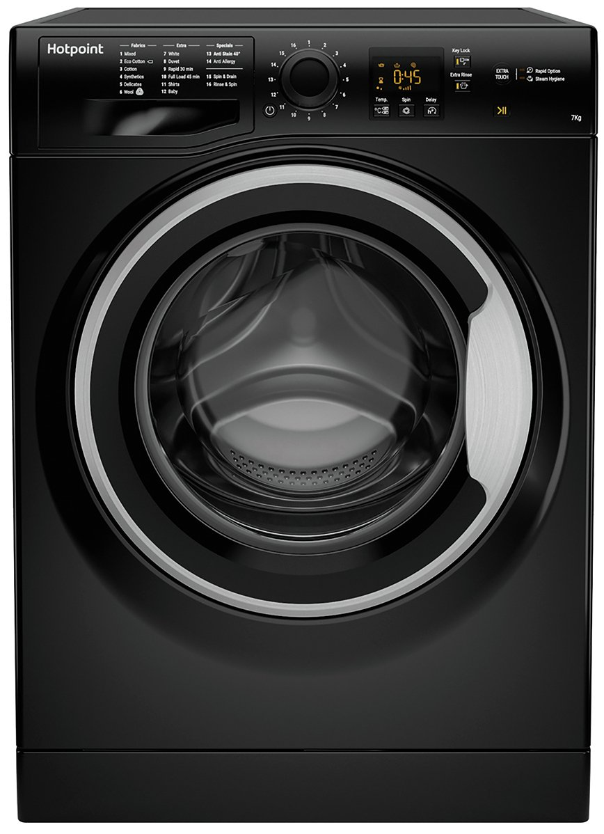 Hotpoint NSWM743UBSUK 7KG 1400 Spin Washing Machine - Black