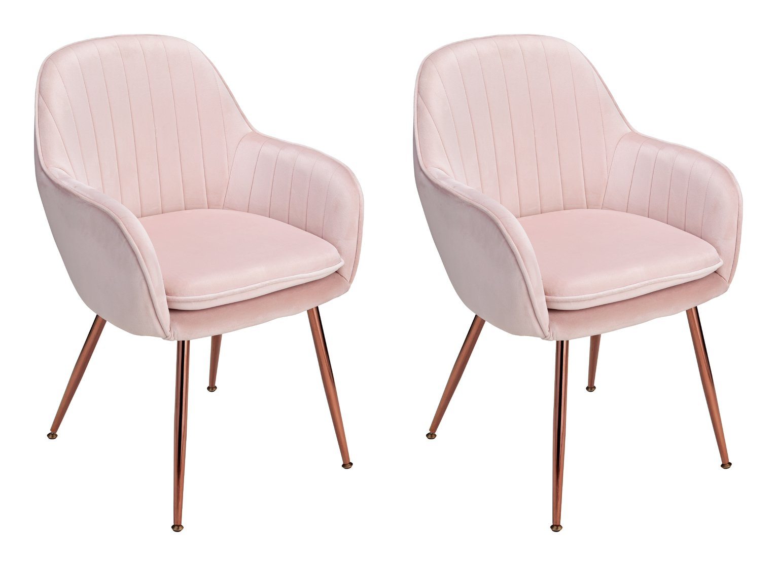 Argos Home Bella Pair of Velvet Dining Chairs - Blush