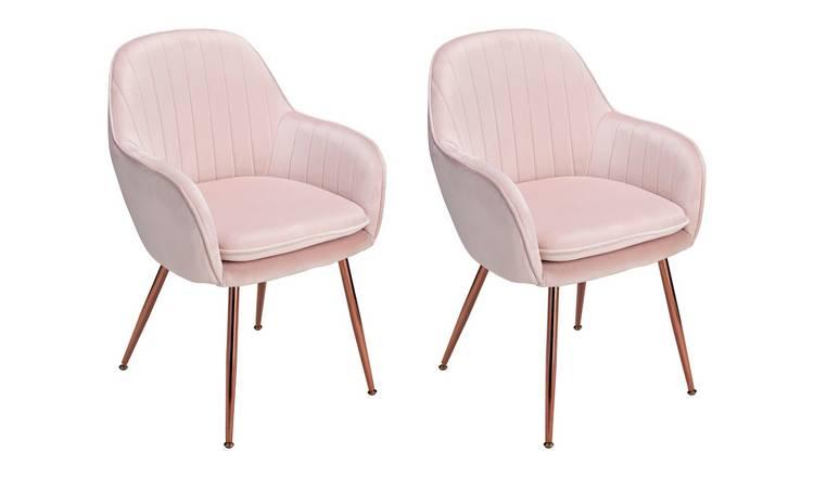 Buy Argos Home Bella Pair Of Velvet Dining Chairs Blush Dining Chairs Argos
