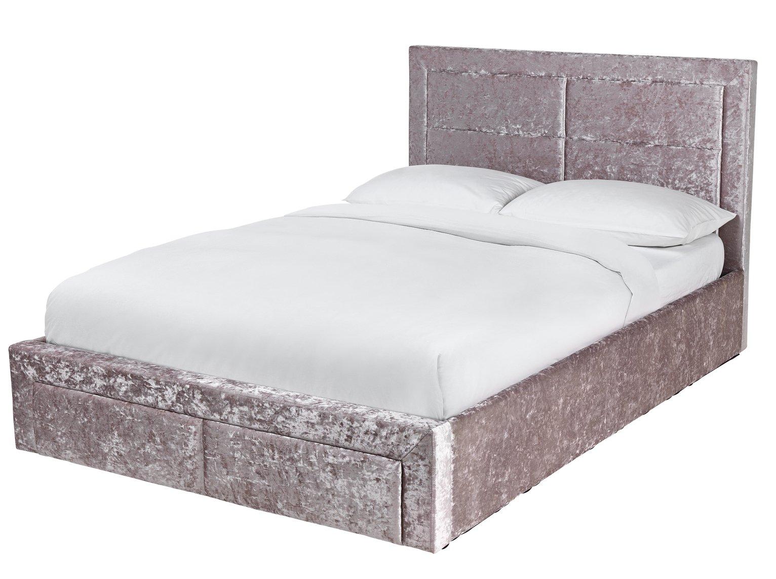 Argos Home Kourtney Velvet End Open Ottoman Dbl Bed - Silver