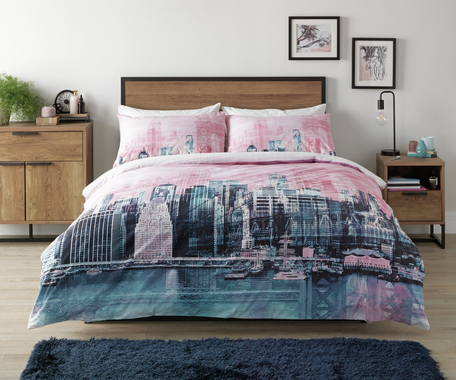 Argos Home Pink New York Skyline Bedding Set - Kingsize