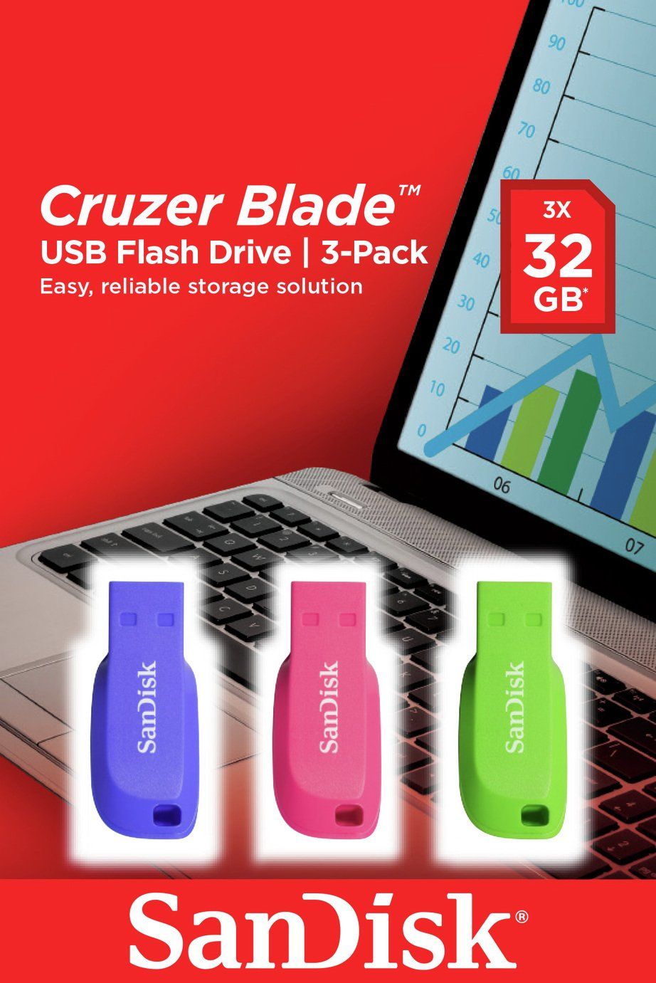 SanDisk Cruzer Blade USB 2.0 Flash Drive Pack of 3 - 32GB