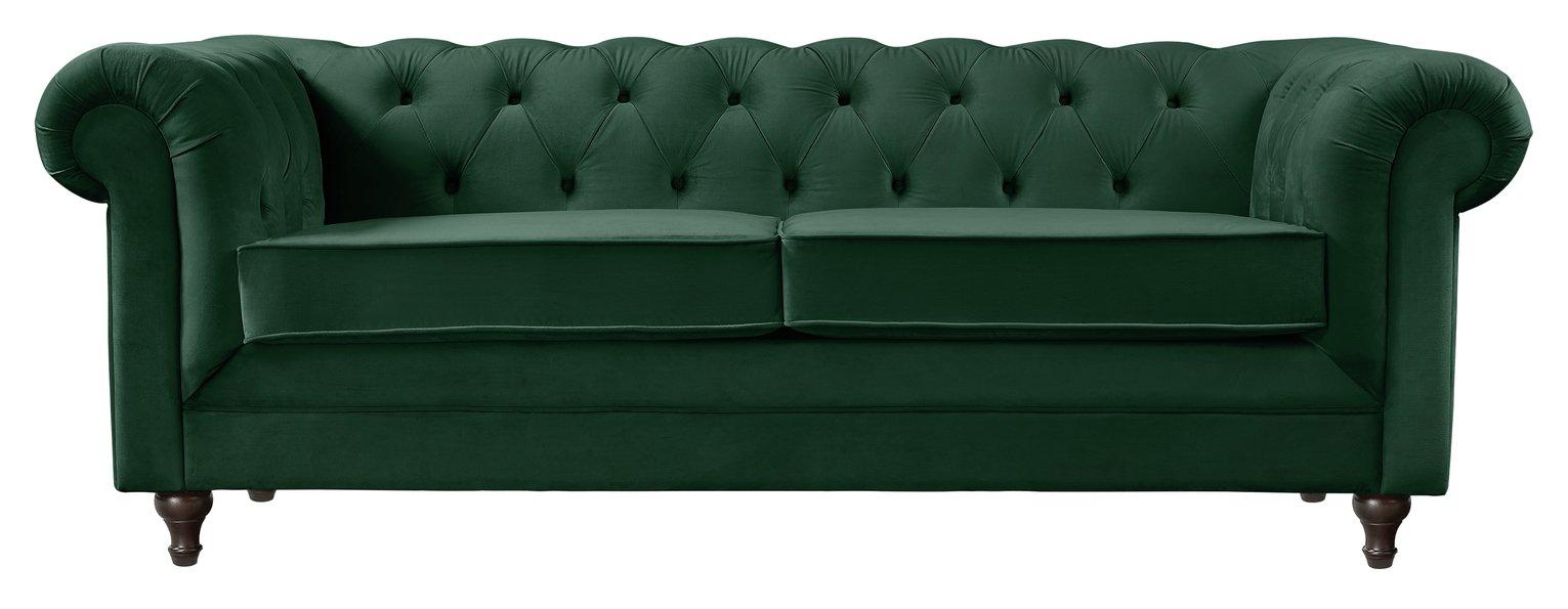 Habitat Chesterfield 3 Seater Velvet Sofa - Green