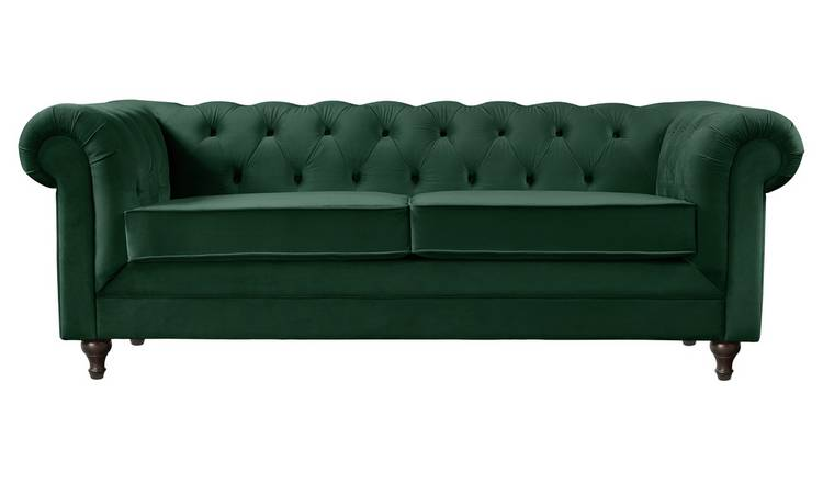 Habitat Chesterfield 3 Seater Velvet Sofa - Green