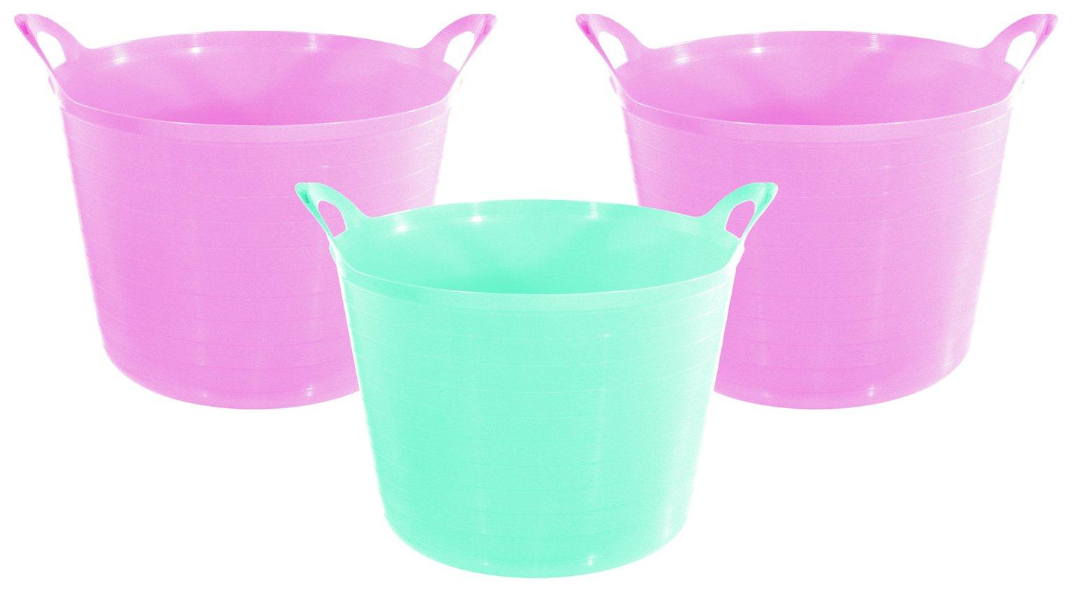 Argos Home Set of 3 27 Litre Pink Flexi Tubs