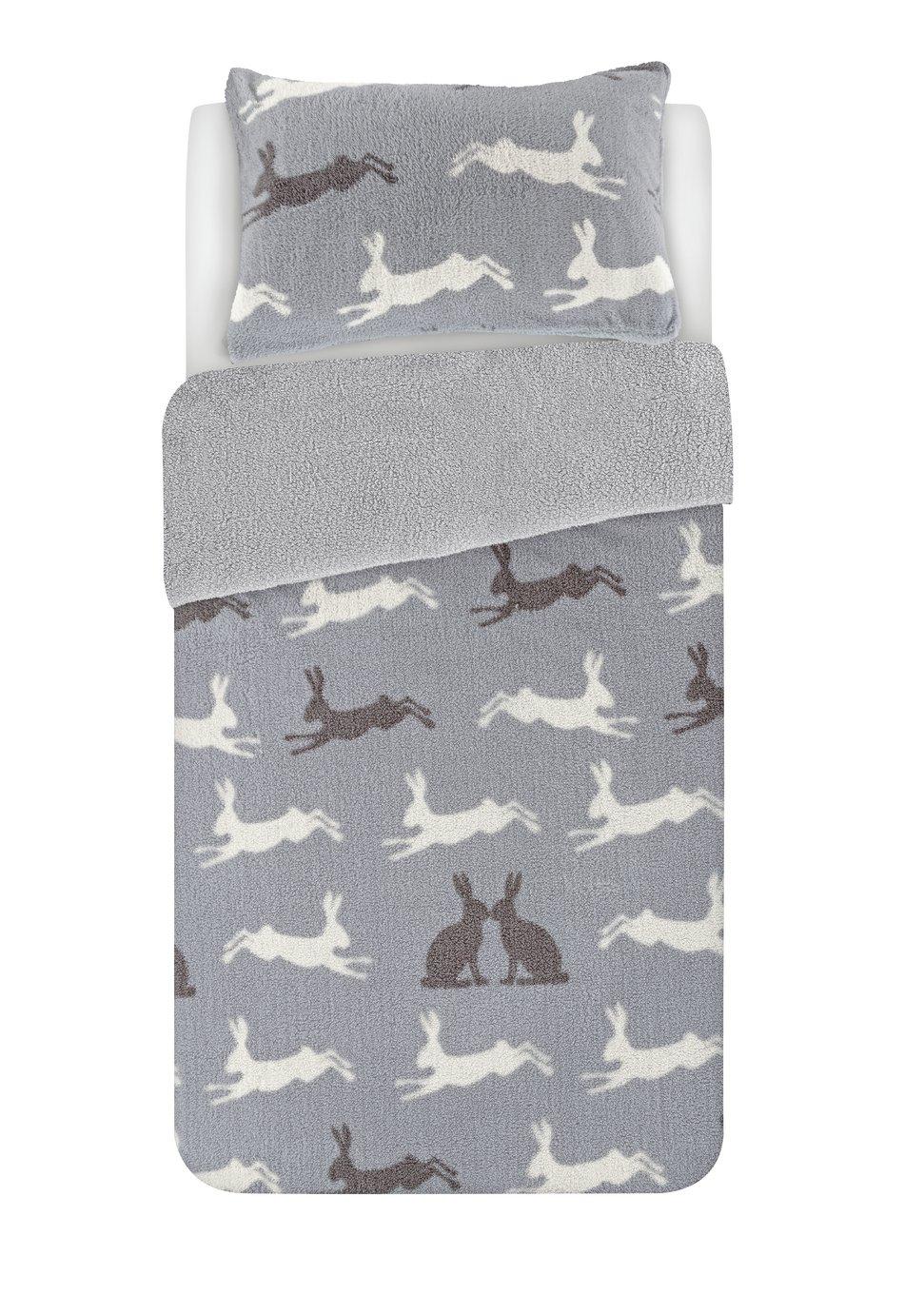 Argos Home Fleece Hare Bedding Set - Single