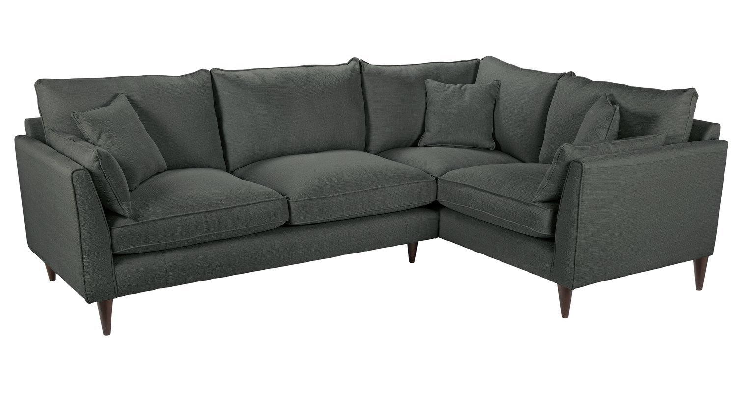 Argos Home Hector Right Corner Fabric Sofa - Charocal Linen