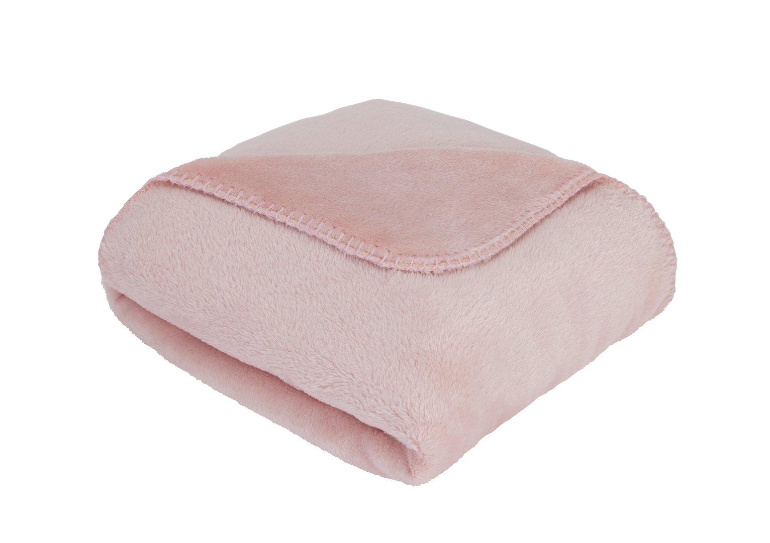 Argos Home Supersoft Fleece Throw - Blush Pink