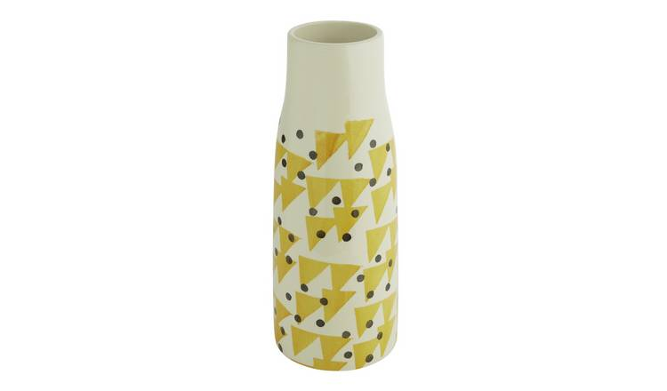 Habitat Terri Yellow And Black Pattern Earthenware Vase