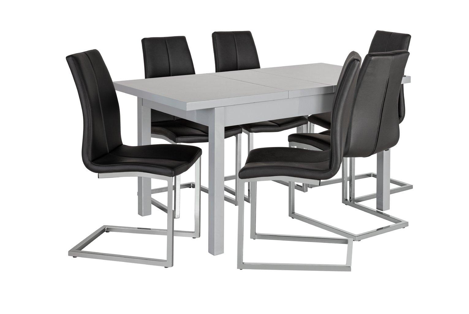 Argos Home Lyssa Extending Gloss Table & 6 Milo Chair -Black