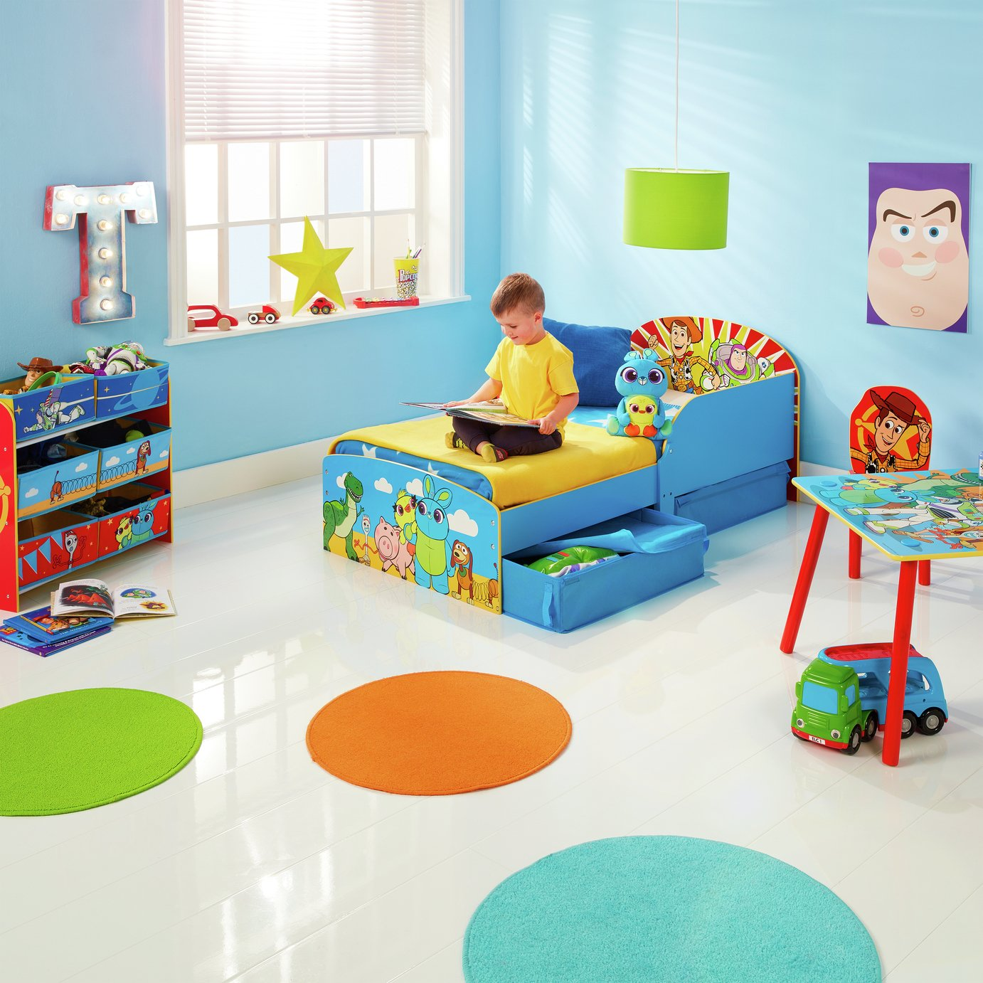 Disney Toy Story Toddler Bed with Drawers & Mattress