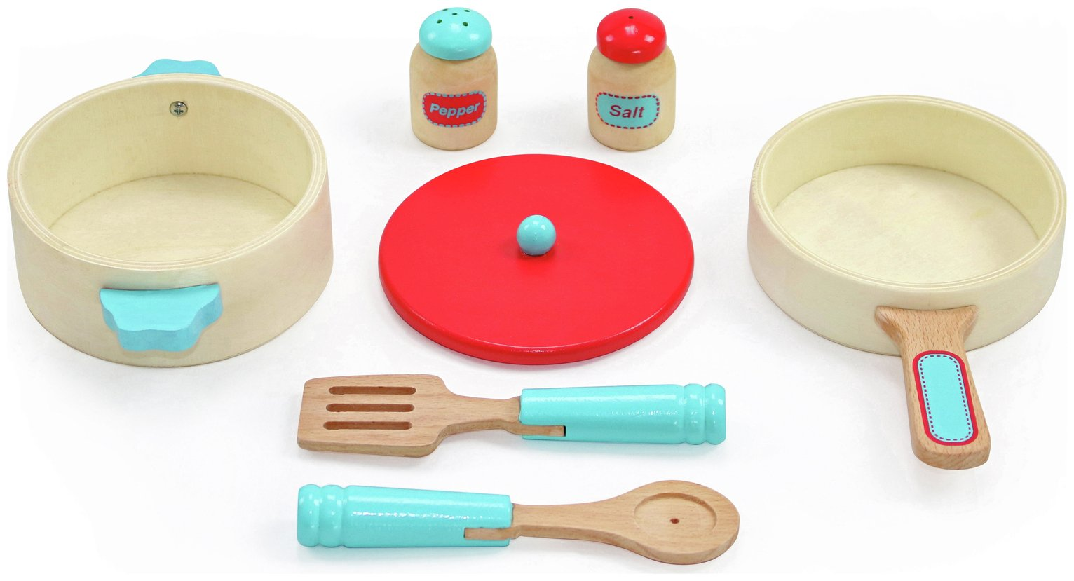 Chad Valley Wooden Pots and Pans Playset