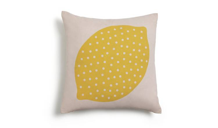 Habitat Lemon Patterned Cushion - Yellow